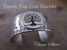 Family Tree Cuff Bracelet  Personalize with your by classicsilver, $45.00