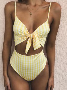 Swimsuits For Women 2019 : Yellow Plaid Knotted Padded High Waist Sexy Bikini Sexy Bikini, Bikini Swimwear, Halter Bikini, Swimwear Sale, Summer Swimwear, Retro Swimwear, Crop Top Bikini, Swimwear Fashion, Bikini Fashion