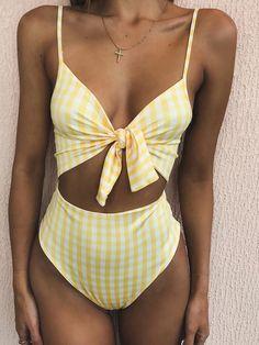 Cute Print Front Tie Bow High Waist High Cut Spaghetti Bikini Suit - worthtryit.com