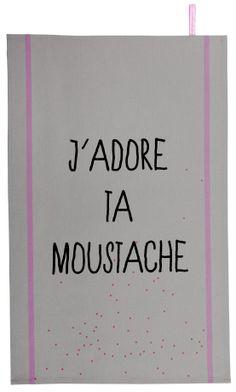 Torchon Moustache Réglisse - tea towel  - la cerise sur le gateau