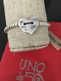 Uno-De-50-Heart-Charm-beaded-Bracelet-NWT-I-love-it-Adjustable