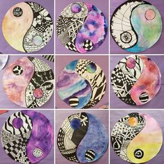 Ying Yang zentangles by grade! Thank you for the idea! Line Art Projects, Middle School Art Projects, Spring Art Projects, Classroom Art Projects, Art Classroom, Elementary Art Rooms, Art Lessons Elementary, Line Art Lesson, Hamilton