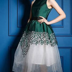 Green High Collar Sleeveless Spliced Detailed Tutu Dress