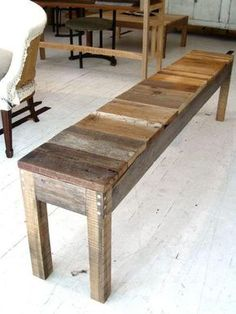 make a bench out of old farm wood to keep in garage for sitting and taking boots off