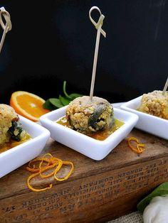 quinoa spinach bites // gingered orange honey dipping sauce