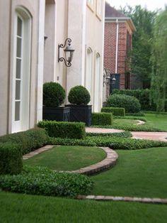 Classical Garden Design~brick edges; elevations; planter boxes; boxwoods