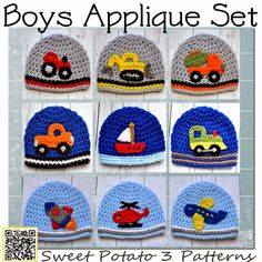 My Sweet Potato 3: All Boy Applique Set - Pattern Release, Hats for your little (or big) boy! Customize and get a: tractor, bulldozer, dump truck, truck, sailboat, train, rocket, helicopter or airplane crochet hat!