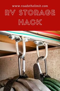 Camper Hacks Discover Quick and Easy RV Storage Organization Hack This simple easy and effective RV storage hack will organize all of your cords wires or hoses in a pinch with just 4 hardware items! Organisation En Camping, Travel Trailer Organization, Travel Trailer Camping, Camping Organization, Organization Ideas, Travel Trailer Living, New Travel Trailers, Rv Travel, Camper Hacks