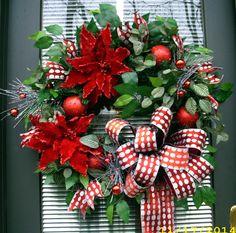 Christmas Poinsettia Wreath by LisasLaurels on Etsy