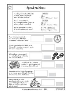 The word problems in this math worksheet give your child practice determining the correct multiplication and division equations and then calculating answers about distance and speed.