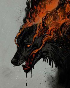 Art Sketches, Art Drawings, Dibujos Dark, Arte Yin Yang, Demon Dog, Art Plastique, Animes Wallpapers, Mythical Creatures, Werewolf