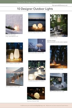 10 Designer Outdoor Lighting Ideas for your Garden Cool Lighting, Lighting Ideas, Outdoor Lighting, Led Lamp, White Light, Simple Designs, Garden Design, Places To Go, Things To Come