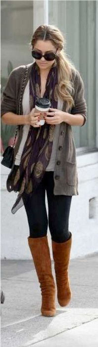 Outfit Posts: outfit post: green t-shirt, grey boyfriend cardigan, black skinny jeans, animal print scarf