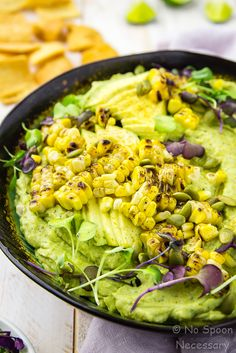 Avocado Sriracha Hummus with Grilled Corn
