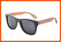 Genuine Handmade Wood Sunglasses Anti-glare Polarized Wooden Wayfarers-Z6016(black-red&zebra,grey) - Made of wood (*Amazon Partner-Link)