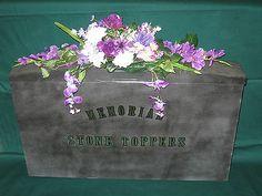 MEMORIAL CEMETERY HEADSTONE PURPLE / WHITE FLOWER ARRANGEMENT SADDLE - NEW