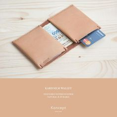 Handmade Italian Vegetable Tanned Leather Slim Wallet in Natural Color