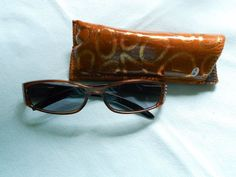 Brown Ladies 1.50 Bifocal Reader Sunglasses Fashion Rectangle Sparkle With Case
