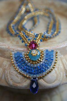 Egyptian Pendant Beaded Necklace by createdbycarla on Etsy