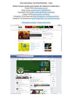 TEIA NACIONAL DA DIVERSIDADE - 2014. Criação de conteúdo e mobilização, com uso de plataformas, programas e mídias livres. Mídias Sociais usadas pela Equipe de Cobertura Colaborativa Portal iTEIA (www.iteia.org.br) Blog Corais (www.corais.org/teia2014) Facebook iTEIA (https://www.facebook.com/iteia) Twitter iTEIA (www.twitter.com/iteia) Instagram TEIA Nacional (http://instagram.com/teianacional) Diáspora TEIA Nacional (www.diasporabr.com.br/teianacional) #TeiadaDiversidade #TeiaColaborativa