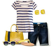 summer sky by meganpearl on Polyvore featuring Velvet, Paige Denim, Coach, Anya Hindmarch, Oliver Peoples, Kate Spade, flat sandals, denim shorts, stripes and mustard