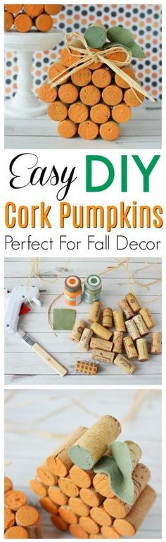 This Easy DIY wine cork pumpkin is the perfect idea for Fall, Halloween, and Thanksgiving crafts or decor. Get the tutorial here. #FallDIY #HalloweenCraft #ThanksgivingDecor https://www.southernfamilyfun.com/diy-cork-pumpkins/