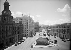Intersection of Customhouse and Jervois Quays and Post Office Square, Wellington, ca 1940 by National Library NZ on The Commons Wellington New Zealand, Princess Cruises, British Isles, Post Office, Capital City, Old Photos, Louvre, Street View, Island