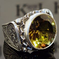 925 Sterling Silver men's ring with color changing Diaspore unique handcrafted #KaraJewels #Handmade