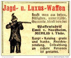Original-Werbung/Anzeige 1906 - JAGD- UND LUXUS - WAFFEN / VON NORDHEIM / MEHLIS - ca. 40 x 35 mm
