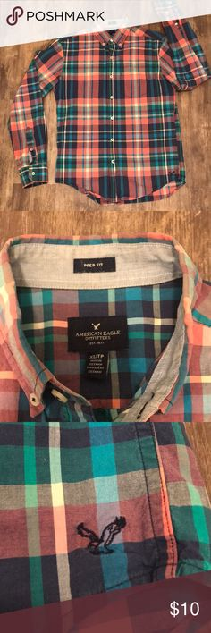 American Eagle Prep Fit XS Plaid Button Up This men's pink plaid American Eagle Outfitters Plaid Button Up is their prep fit style in excellent condition. Gently used from a smoke free house. No real signs of use. ✨ check out my closet ✨ American Eagle Outfitters Shirts Casual Button Down Shirts