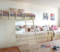 long bunk areas. need more kids to justify. what the hell? worth it for cute bunks.