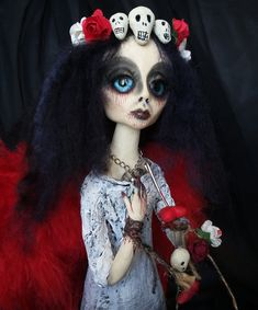 "Items similar to OOAK art doll ""Panna"" winged gothic dark angel - unusual horror art on Etsy Scary Decorations, Halloween Decorations, Gothic Dolls, China Dolls, Creepy Dolls, Angel Art, Gothic Art, Horror Art, Mythical Creatures"