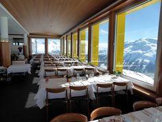 Piz Nair Panorama restaurant in St. Moritz, Switzerland.