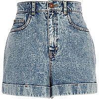 Light acid wash high waisted denim shorts