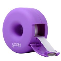 Fix It Fun. Ah Tape - everyone's best friend, especially when it comes in a donut-shaped dispenser. This bright purple desk accessory comes in a super softy finish for your every adhesive need. Roll i Purple Desk, Purple Office, Purple Love, All Things Purple, Bright Purple, Purple Rain, Shades Of Purple, Purple Stuff, Too Cool For School