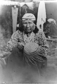 Photograph of Siletz woman. Along with the Alsea and the Siuslaw Indians, they now are part of the Confederated Tribes of Siletz Indians in Oregon.