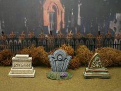 Tombstone Set #25 **by Skinny Bones Designs** Miniature Halloween Village Graveyard Cemetery