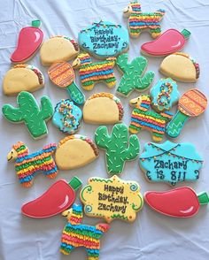 Cinco de mayo inspired birthday theme decorated cookies by Charlotte Gushue of Cookie Starts with C Fiesta Cake, Mexican Fiesta Party, Fiesta Theme Party, Taco Party, Pinata Party, Mexican Birthday Parties, First Birthday Parties, Birthday Party Themes, First Birthdays