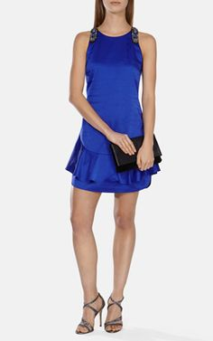 Peplum hem mini dress with beaded straps