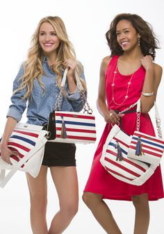 The perfect accessories for your Fourth of July BBQs this summer! And when you purchase one of our Stars  and Stripes Shells, a portion goes toward the Wounded Warrior Project! #michefashion #fashion #patrioticfashion