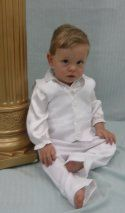 We are currently out of stock of sizes 00 and 0. This little boys christening 3 piece soft satin  polyester suit is just adorable. The pants...