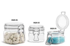 Plastic Jars, Clear PET Square Wire Bale Jars w/ Hinged Lids - salt/sugar scrubs and face masks