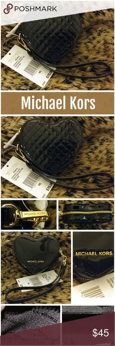 "NWT Michael Kors Hearts Coin Purse Michael Kors Hearts coin purse key fob.   -Quilted Glossy Patent Leather? -Gold-Tone Hardware? -4"" X 4"" X 1.5""? -Handle 7.5""""? -Lining: 100% Polyester Excellent condition.  Never used.  From smoke free home.  LOC CL 2-5 Michael Kors Bags Clutches & Wristlets"