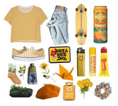 """""""yellow."""" by thrasherlover ❤ liked on Polyvore featuring Burt's Bees, Element, L. Erickson, Monki, Carmex, Fjällräven, ZiaBella, HOT SOX, Vans and Burberry"""