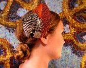 Perfect vintage looking Fall feather fascinator