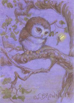 Perriwinkle Owl and Fairy 5x7 Print by brownieman on Etsy, $4.50