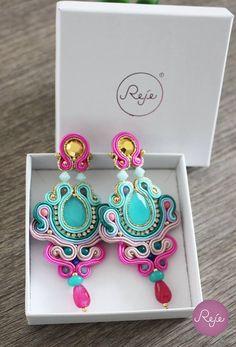 Soutache jewelry, soutache earrings, chandelier earrings, colorful earrings, handmade in Italy. https://www.etsy.com/it/shop/Rejesoutache?ref=hdr_shop_menu FACEBOOK: https://www.facebook.com/rejegioielliinsoutache/