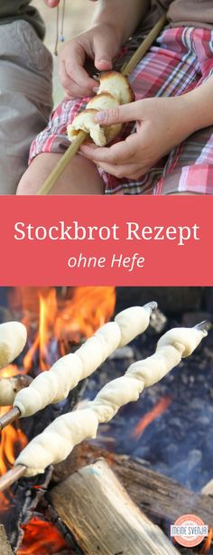Stick bread for mild summer evenings- Stockbrot für laue Sommerabende Stick bread recipe for children without yeast – easy and quick to make yourself. For cozy evenings around the campfire. www. Camping Desserts, Camping Meals, Kids Meals, Camping Checklist, Pastry Recipes, Bread Recipes, Casa Pizza, Pizza Hut, Foil Pack Dinners