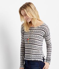 Throw on some gold and silver necklaces with our Long Sleeve Novelty Stripe Knit Top for a hint of glam on date night! This stylish, comfy shirt coordinates effortlessly with all your favorite accessories for one stunning look.