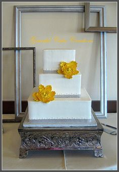 Elegant White Wedding Cake with Yellow Peonies by Graceful Cake Creations, via Flickr